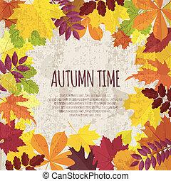 outono, bandeira, foliage, vindima