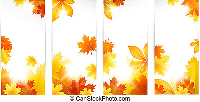 outono, bandeiras, folhas