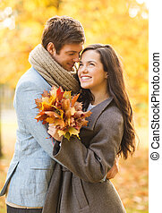 outono, beijando, par, parque, romanticos