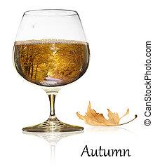 outono, beleza, em, um, vidro vinho