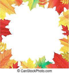 outono, borda, com, folhas
