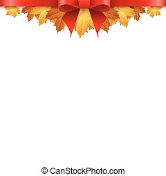 outono, borda, folhas, maples