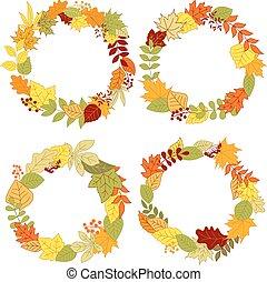 outono, bordas, folhas, fronteiras