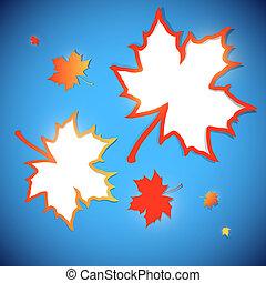 outono, bordas, folhas, maple, fundo