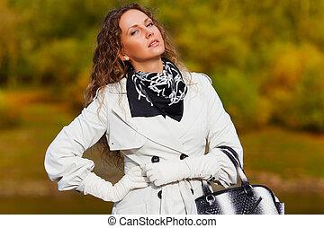 outono, branca, mulher, floresta, contra
