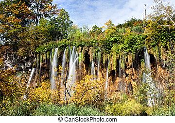 outono, cachoeira, paisagem