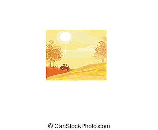 outono, campo, arar, trator