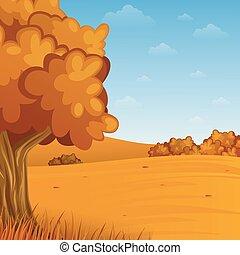 outono, caricatura, paisagem