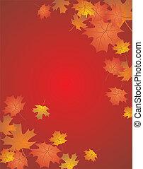outono, cartão vermelho
