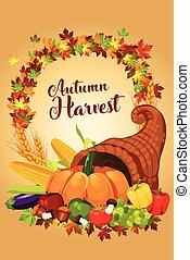 outono, cartaz, colheita