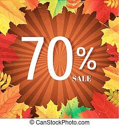 outono, cartaz, folhas