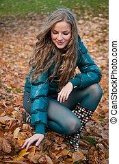 outono, cena, -, mulher feliz