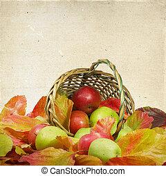 outono, cesta, folhas, maçãs