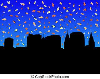 outono, cidade, lago salgado