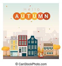 outono, cityscape, 1, olá, fundo