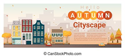 outono, cityscape, 3, olá, fundo