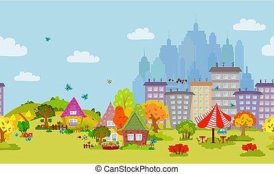 outono, cityscape, desenho, seamless, seu