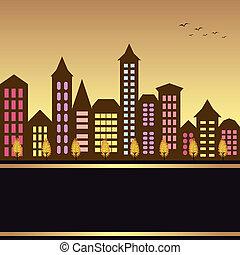 outono, cityscape, ilustração