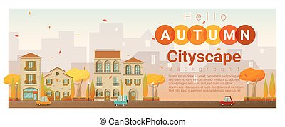 outono, cityscape, olá, fundo, 4