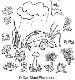 outono, cobrança, com, imagens, de, pássaros, animais, fungos, flores, cones, para, a, crianças, em, pretas, contour., jogo, 2.