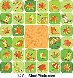outono, coloridos, ilustração