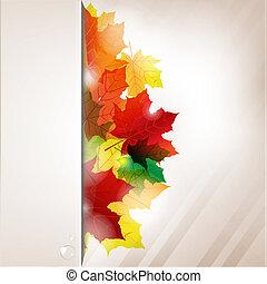 outono, composição, de, folhas, e, papel, bandeira, com, gota dágua