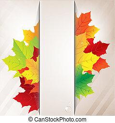 outono, composição, de, folhas, e, papel, bandeira