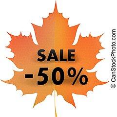 outono, conceito, folha, 50%, sale., maple, fundo, branco vermelho