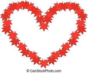 outono, coração, folhas