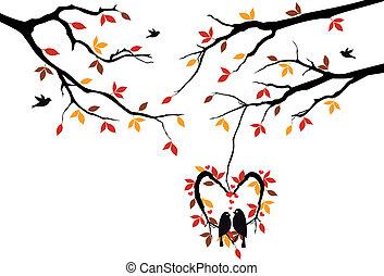 outono, coração, ninho, árvore, pássaros