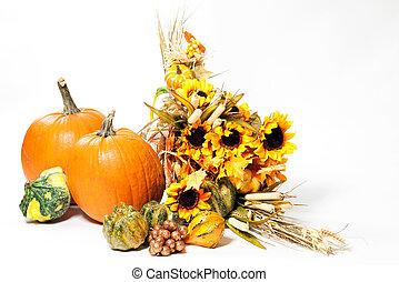 outono, cornucópia, ligado, um, fundo branco