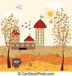 outono, coruja, paisagem