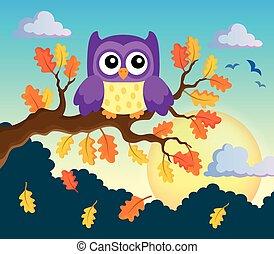 outono, coruja, tema