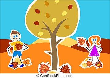 outono, crianças