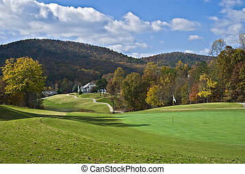 outono, curso, golfe