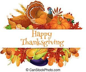 outono, decoração, colheita, ação graças, bandeira
