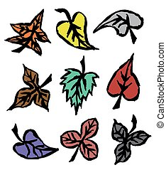 outono, desenhado, folhas, grunge, mão