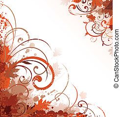 outono, desenho, ornamento, scroll