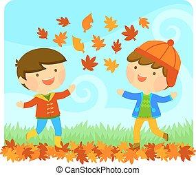 outono, desfrutando, crianças