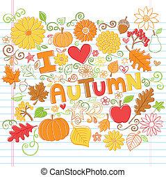 outono, doodles, sketchy, vetorial, outono