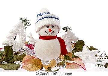 outono, e, inverno, boneco neve