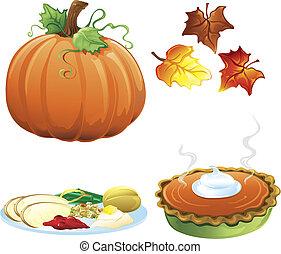 outono, e, outono, ícones