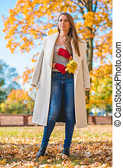 outono, elegante, mulher, moda