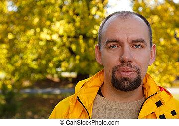 outono, ensolarado, parque, day., close-up., retrato, barba, homem
