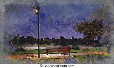outono, esboço, banco parque, aquarela, noturna, vazio