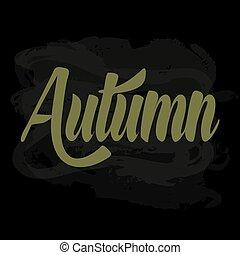 outono, escola, palavra, giz, escrito, verde, tábua