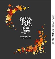 outono, escuro, folhas, quadro, maple