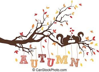 outono, esquilos, vetorial, árvore
