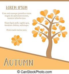 outono, estação, cartão
