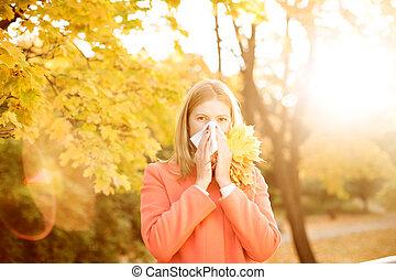 outono, estação, gripe, rhinitis, experiência., outono, ...